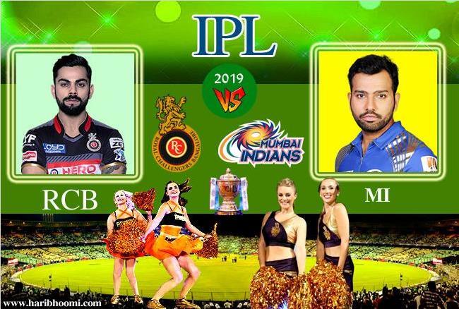 मुंबई अे आरसीबी 2019 आईपीएल मैच मे आरसीबी को मिली 6 रनो से हार, मुंबई ने दिया था  188 का लक्षय